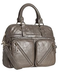 Rebecca Minkoff Taupe Leather Paramour Convertible Top Handle Bag - Lyst