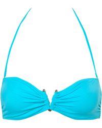 Topshop Turquoise Bandeau Metal V Ring Bikini Top - Lyst