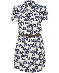 Topshop White Bunny Print Belted Shirtdress white - Lyst