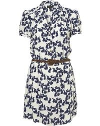 Topshop White Bunny Print Belted Shirtdress - Lyst