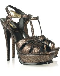 Saint Laurent Tribute Serpent Head Python Sandals - Lyst