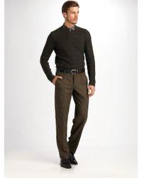 Armani Lattice Pattern Wool Sweater - Lyst