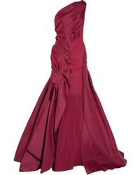 Zac Posen One-shoulder Silk-twill Gown - Lyst
