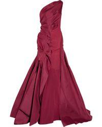 Zac Posen One-shoulder Silk-twill Gown red - Lyst