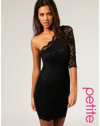 ASOS Collection Asos Petite Lace One Sleeve Bodycon Dress black - Lyst