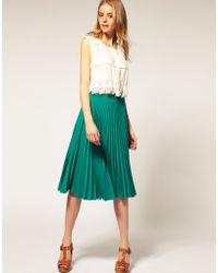 ASOS - Asos Pleated Midi Skirt - Lyst
