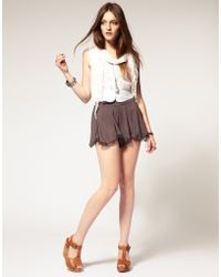 Free People Scalloped Hem Lace Trim Short - Lyst