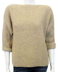 Vince Crop Boatneck Sweater in Heather - Lyst