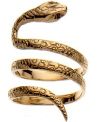 Aurelie Bidermann Gold Snake Ring, Set with Black Diamonds - Lyst