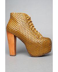 Jeffrey Campbell The Lita Weave Shoe in Mustard - Lyst