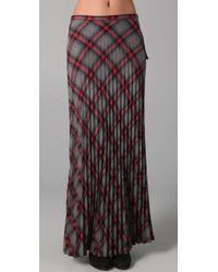 L.A.M.B. - Long Pleated Plaid Skirt - Lyst
