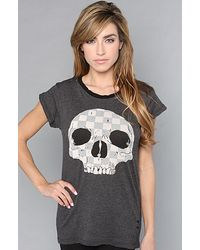 Wildfox The Checkered Skull Ripped Rock Tee gray - Lyst