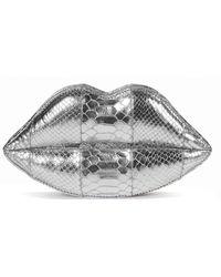 Lulu Guinness Silver Metallic Snakeskin Lips Clutch - Lyst