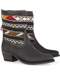 Cobra Society Hand-woven Wool and Brushed-leather Ankle Boots black - Lyst
