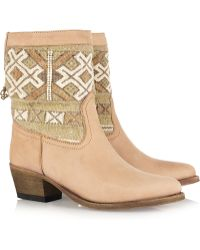 Cobra Society Embroidered Wool and Brushed-leather Ankle Boots brown - Lyst