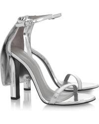 Alexander Wang Fabiana Metallic Leather Sandals silver - Lyst