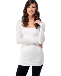 Splendid Long Sleeve Layers Top white - Lyst