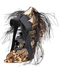 Brian Atwood Tie-up Feather Sandal animal - Lyst