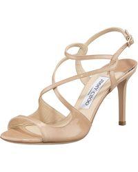 Jimmy Choo Strappy Patent Sandal - Lyst