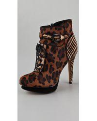 Sam Edelman Uma Lace Up Animal Print High Heel Ankle Boot - Lyst