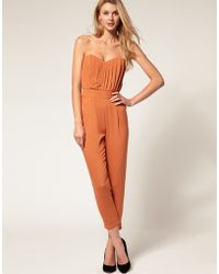 ASOS Collection Asos Pleated Bust Jumpsuit - Lyst