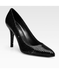 Stuart Weitzman Snake-print Patent Leather Point Toe Pumps - Lyst