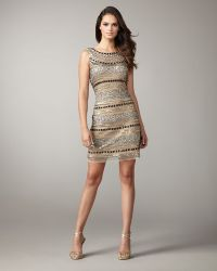 Aidan Mattox High-neck Stripe Sequin Dress - Lyst