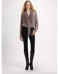 L'Agence Ruffled Crinkle Silk Blouse - Lyst