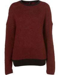 Topshop Slubby Contrast Sweatshirt - Lyst