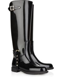 Valentino Studded Patent-rubber Knee Boots - Lyst