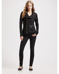 VEDA Swing Coat with Leather Sleeves - Lyst