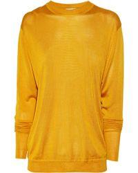 Acne Studios Etienne Fine-knit Silk Cutout Sweater gold - Lyst