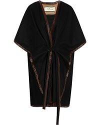 By Malene Birger Senalda Leather-trimmed Wool-blend Poncho - Lyst