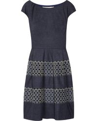 Lela Rose Wool-blend and Cotton-lace Dress - Lyst