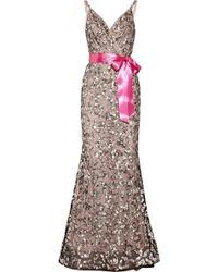 Oscar de la Renta Sequined Tulle and Silk-chiffon Gown - Lyst
