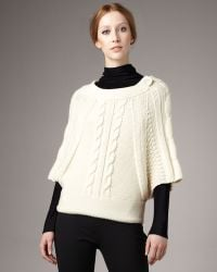Piazza Sempione Cable-knit Button Capelet beige - Lyst