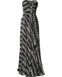 Lela Rose Strapless Silk-chiffon Gown - Lyst