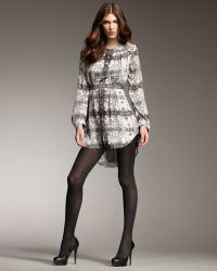 Theyskens' Theory - Printed Long-sleeve Mini Dress - Lyst