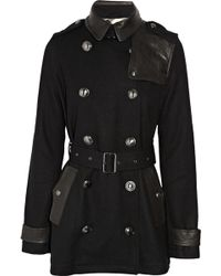 Burberry Brit - Leather-trimmed Wool-felt Trench Coat - Lyst