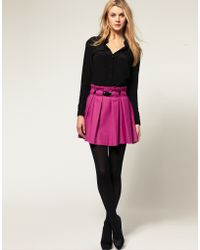 ASOS Collection Asos Wool Touch Skirt with Belt - Lyst