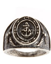 ASOS Collection Asos Navy Emblem Ring - Lyst
