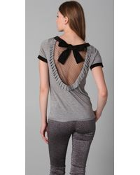RED Valentino Short Sleeve Tee Shirt with Net Back gray - Lyst