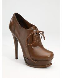 Saint Laurent Ysl Tribute Lace-up Ankle Boots - Lyst