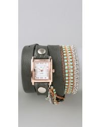 La Mer Collections - Turquoise Crystal Chain Wrap Watch - Lyst