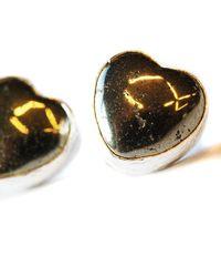Toosis Pyrite Heart Stud Earrings - Lyst