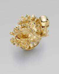 Alexander McQueen Koi Tail & Cherry Blossom Ring gold - Lyst