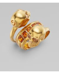 Alexander McQueen New Twin Ring/old Gold - Lyst