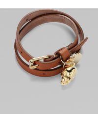 Alexander McQueen Leather & Skull Wrap Bracelet brown - Lyst