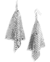 Cara Accessories Diamond Shape Mesh Earrings silver - Lyst