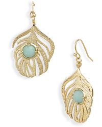 Kendra Scott Rita Small Leaf & Stone Earrings - Lyst